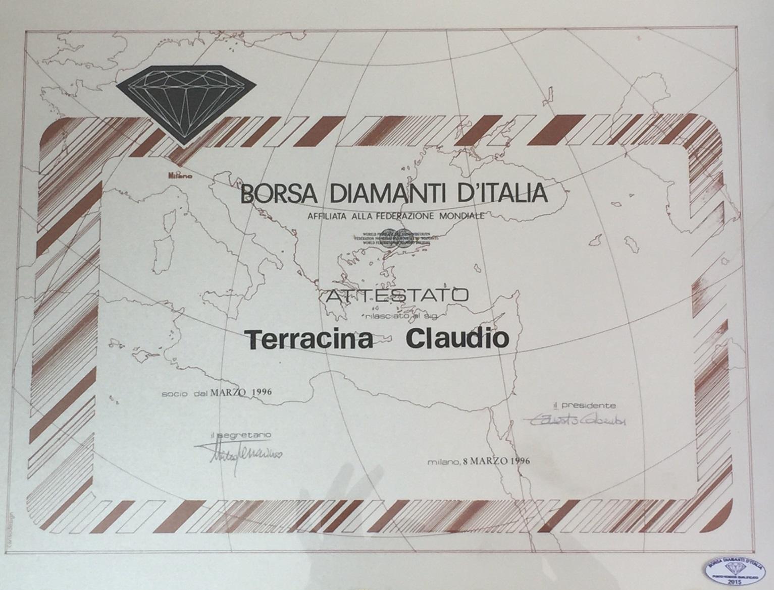 Attestato borsa diamanti italia terracina claudio